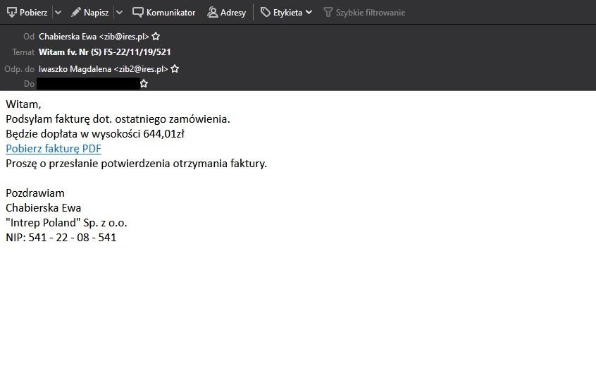 Fałszywe maile - Faktura
