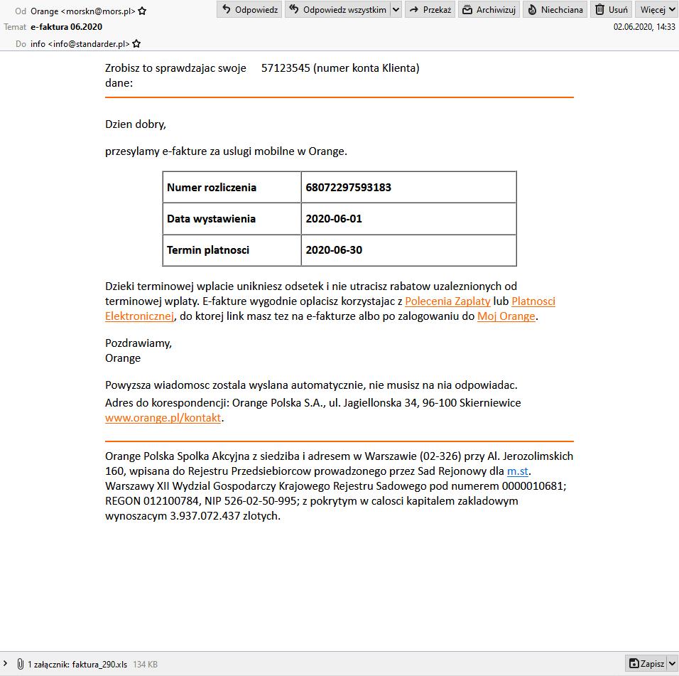 fałszywe maile  - faktura Orange