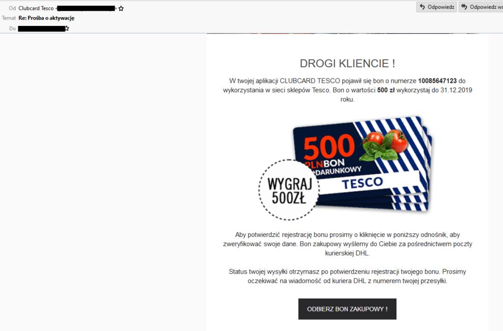 Fałszywy mail- bon podarunkowy