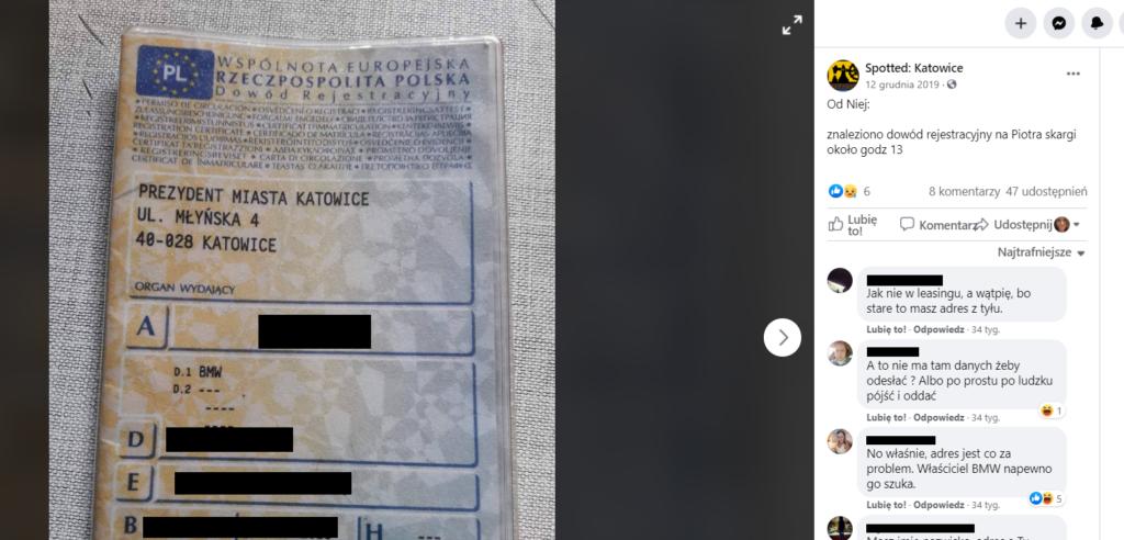 znalezione dokumenty - dowód rejestracyjny