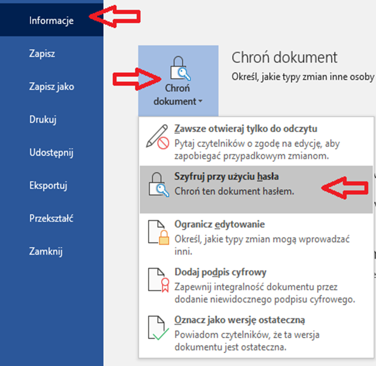 szyfrowanie wiadomości mailowych w WORD / EXCEL